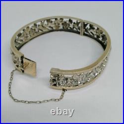 Bracelet ancien en argent avec motifs de fleurs en ajouré, Art Nouveau 1900