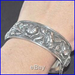 Bracelet manchette ancien art nouveau argent massif 835 fleur rose bijou bangle