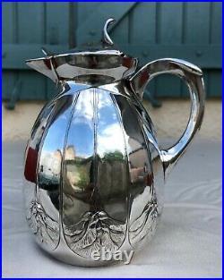 Broc GALLIA Christofle en Métal argenté Art Nouveau Décor graines d'érable