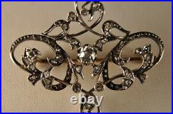 Broche Ancien Art Nouveau Or Argent Massif Diamants Antique Gold Silver Brooch