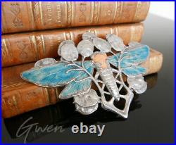 Broche Ancienne Art Nouveau Argent 800 Email Libellule Lotus Emaillé Pendentif
