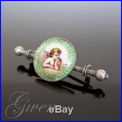 Broche Ancienne Art Nouveau Argent Massif Guilloche Email Ange Angelot emaille