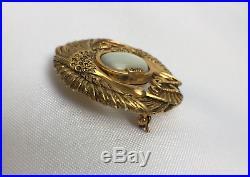 Broche Art Nouveau Cigognes Ste Triangle Da Nacre Argent Vermeil 1900 C1510