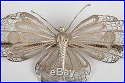 Broche Papillon Argent Filigrané 19ème siècle Art Nouveau Jugenstil Autriche