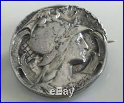 Broche ancienne argent massif poinçon, dragon, Art nouveau