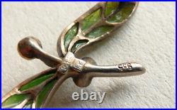Broche argent massif émail plique à jour ART NOUVEAU 1900 silver brooch GUI