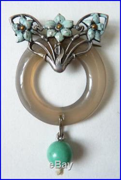 Broche argent massif + turquoise ART NOUVEAU Modern Style Jugendstil 1900 silver