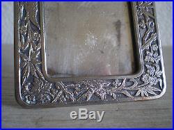 CADRE PHOTO miniature BRONZE ARGENTE ART NOUVEAU oriental 1900 LIBERTY FRAME