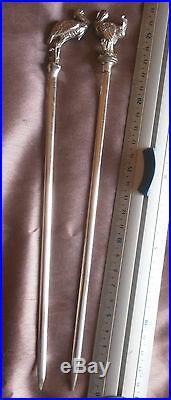 CAILAR BAYARD 2 brochettes / hâtelet bronze argenté Dindon & Héron Modèle RARE