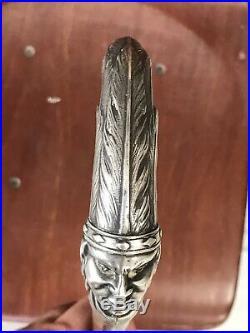 CANNE ARGENT LUCIEN GAILLARD silver cane art nouveau populaire tete indien