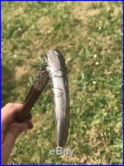CANNE Ancienne Pommeau Argent ART NOUVEAU GUI Antique Walking Stick XX 1900
