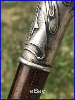 CANNE Ancienne -Pommeau Argent ART NOUVEAU NOUILLE Antique Walking Stick XX 1900