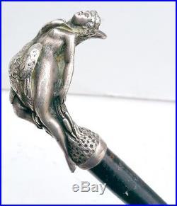 CANNE POMMEAU LEDA ET LE CYGNE BRONZE ARGENTE 1900 CANE ART NOUVEAU JUGENDSTIL
