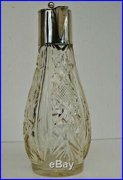 CARAFE A VIN Art Nouveau Cristal Ambré & Argent Massif Allemand Jugendstil 1880