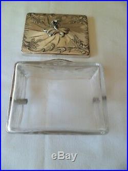 CHARLES CHRISTOFLE SUPERBE BOITE A BISCUIT cristal et metal argenté