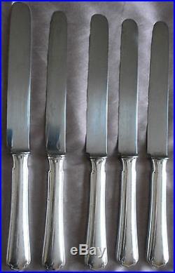 CHRISTOFLE 10 Couteaux de table Métal Argenté & Acier modèle Japonais
