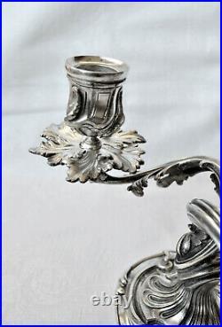 CHRISTOFLE ART NOUVEAU Paire CHANDELIERS CANDELABRES ROCAILLE Bronze Argenté1890