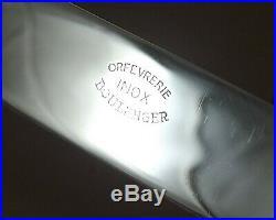 CHRISTOFLE MODELE RARE CANNELE ECUSSON 11 COUTEAUX METAL ARGENTE & INOX Ca1920