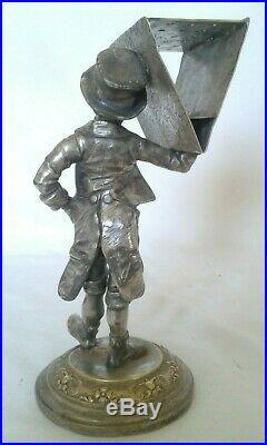CIGAR LIGHTER pyrogène WMF argenté NOIR BLACK matchstick silver porte allumette