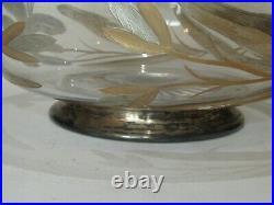 COUPE Saladier Cristal Argent massif Minerve ART NOUVEAU SOLID SILVER BOWL