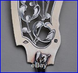 COUTEAU DE SERVICE A GLACE ARGENT MASSIF VERMEIL ART NOUVEAU GUI Sterling Silver