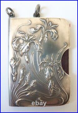 Calepin carnet de bal ARGENT massif ART NOUVEAU vers 1900 silver danse book