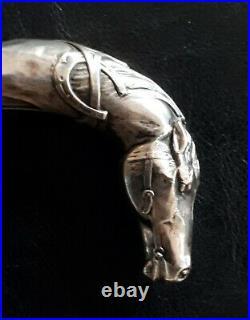 Canne ancienne pommeau argent tête de cheval 1900 Art Nouveau