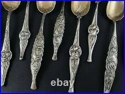 Cardeilhac 12 cuillères en argent massif et vermeil Art Nouveau Minerve
