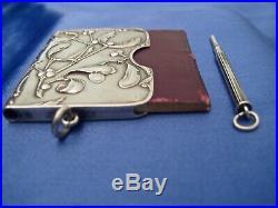 Carnet de bal art nouveau gui et son porte mine argent Murat 1897
