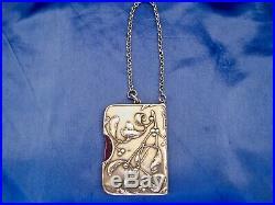 Carnet de bal art nouveau gui et son porte mine argent massif Murat 1897-1910