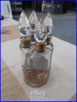 Cave A Parfums Epoque Art Nouveau, Metal Argente Et Cristal