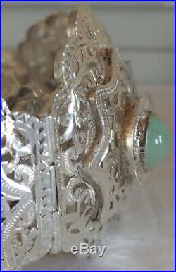 Ceinture berbère argent art nouveau chrysoprase