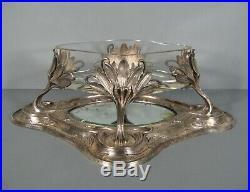 Centre De Table Style Art Nouveau Bronze Argenté / Coupe A Fruits Ancienne