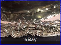 Centre de table et plateau métal argenté, Victor SAGLIER, Art Nouveau
