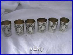 Charles MURAT 1900 ART NOUVEAU 6 verres timbales à liqueur alcool ARGENT MASSIF