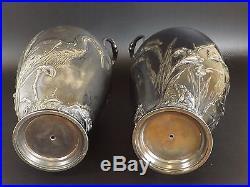 Christofle, Gallia, W M F Paire de Vase Art Nouveau en Métal Argenté. Héron