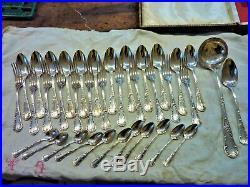 Christofle Ménagère Modèle Chrysanthème Marly 37 P Métal Argenté Old Cutlery