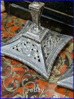 Christofle Paire de bougeoir bronze argentée Art nouveau 1900