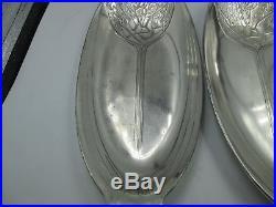 Christofle art nouveau gallia paire 2 plateaux metal argenté