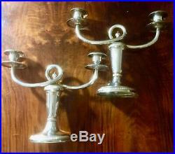 Christofle paire de chandeliers bougeoirs 2 feux en métal argenté, Galia