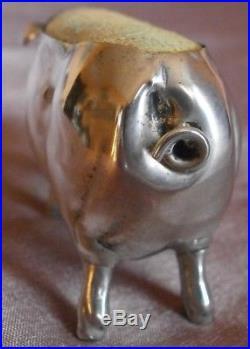 Cochon porte aiguilles argent massif WH SPARROW Sterling Silver Birmingham 1904