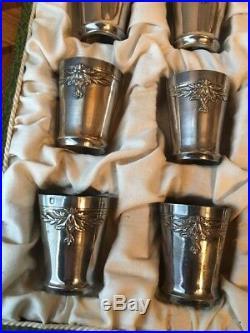 Coffret 12 Beaux GobeLets Verre Liqueur ARGENT MASSIF MINERVE Art Nouveau