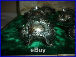 Coffret 6 cuillères et 6 salerons argent massif 800 cristal taillé Art Nouveau