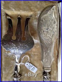 Coffret Service Couverts Poissons Argent fourré XIXéme Art nouveau