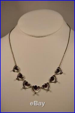 Collier Ancien Art Nouveau Argent Massif Diamants