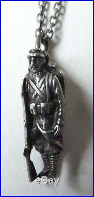 Collier chaine pendentif soldat français argent massif signé AUGIS vers 1915