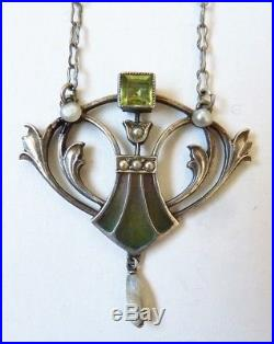 Collier pendentif argent plique à jour signé KARL HERMANN Bijou ancien necklace