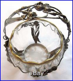 Confiturier Baccarat Art Nouveau, Melon cristal et Or, armature argent Les Iris