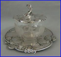 Confiturier en cristal gravé et métal argenté art nouveau Gallia Christofle