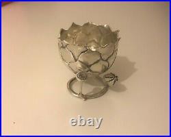Coquetier Art Nouveau Argent Massif Poinçon Cygne Collection Oeuf Argenterie TBE
